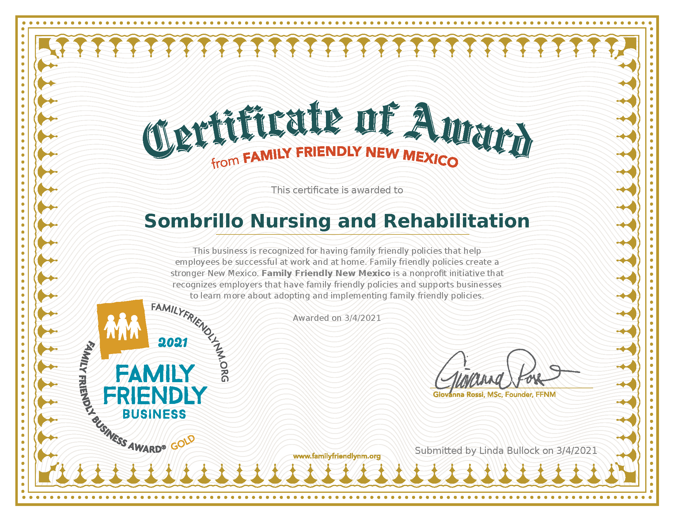 Sombrillo Recognized as a Gold Level Family Friendly Business Award Recipient!